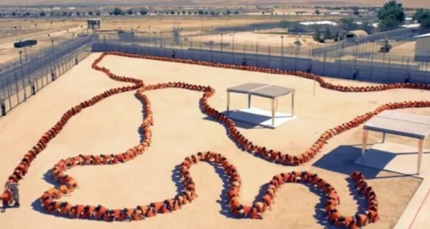 500 więźniów formuje ludzką stonogę