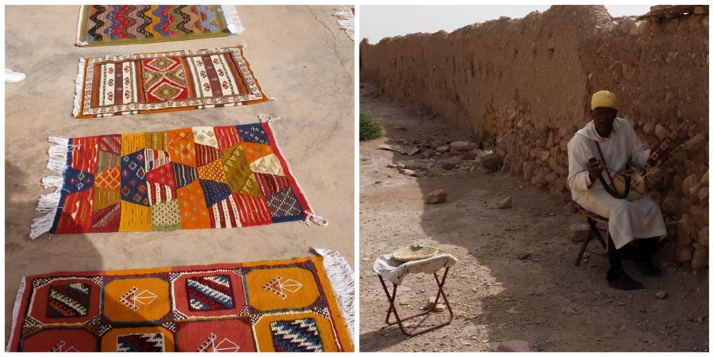 uliczny grajek w marokańskim miasteczku filmowym