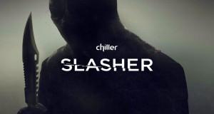 Slasher morderca z ostrym ząbkowanym ostrzem