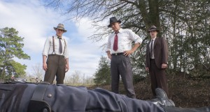 "THE HIGHWAYMEN (2019) - pictured L-R Woody Harrelson (""Maney Gault""), Kevin Costner (""Frank Hamer"") and Thomas Mann (""Deputy Ted Hinton"")."